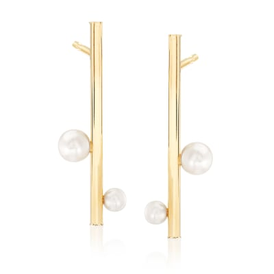 4-7mm Cultured Pearl Linear Bar Drop Earrings in 14kt Yellow Gold