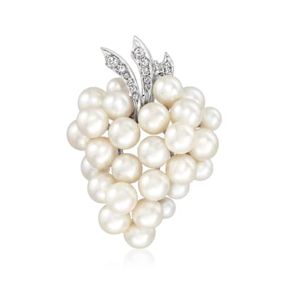C. 1970 Vintage Cultured Pearl and .20 ct. t.w. Diamond Grapes Pin in 14kt White Gold