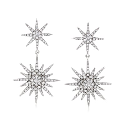 1.00 ct. t.w. Diamond Double-Star Drop Earrings in Sterling Silver