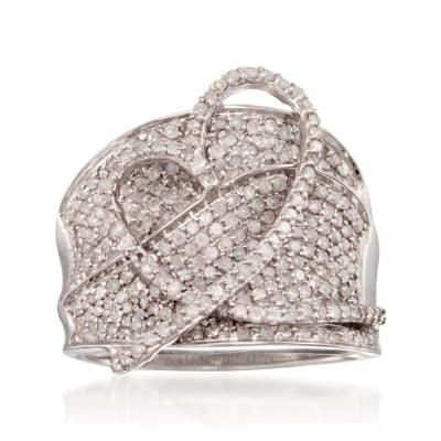 1.40 ct. t.w. Diamond Heart Ring in Sterling Silver
