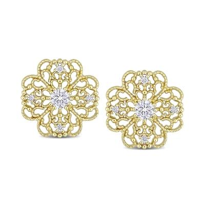 .22 ct. t.w. Diamond Milgrain Openwork Flower Earrings in 14kt Yellow Gold