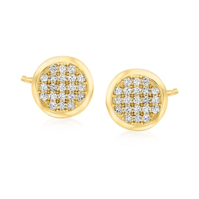 .25 ct. t.w. Diamond Cluster Circle Earrings in 14kt Yellow Gold