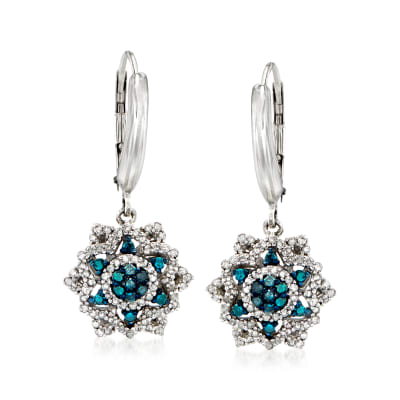 .50 ct. t.w. Blue and White Diamond Flower Drop Earrings in Sterling Silver