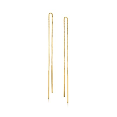 14kt Yellow Gold Linear Bar Drop Threader Earrings