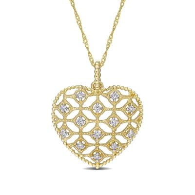 .19 ct. t.w. Diamond Milgrain Openwork Heart Pendant Necklace in 14kt Yellow Gold