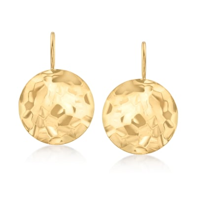 14kt Yellow Gold Hammered Disc Drop Earrings