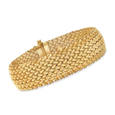 Italian 14kt Yellow Gold Wide Riso-Link Bracelet