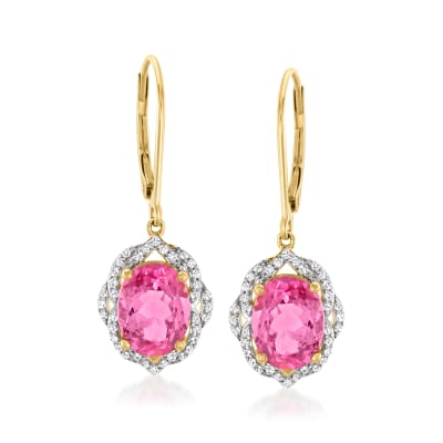 4.30 ct. t.w. Pink Topaz Drop Earrings with .22 ct. t.w. Diamonds in 14kt Yellow Gold
