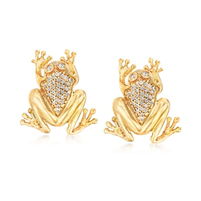 Italian 1.50 ct. t.w. White Sapphire Frog Earrings in 18kt Gold Over Sterling