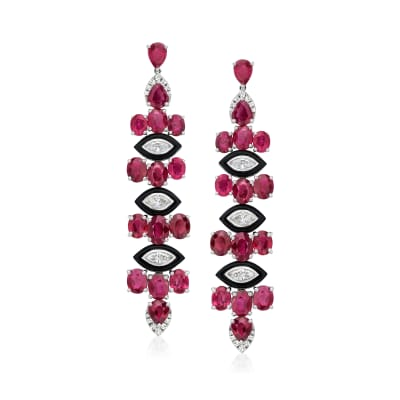 12.00 ct. t.w. Ruby and .98 ct. t.w. Diamond Drop Earrings with Black Agate