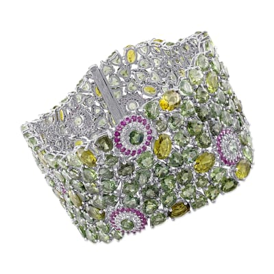 272.75 ct. t.w. Multi-Gemstone and .81 ct. t.w. Diamond Bracelet in 14kt White Gold