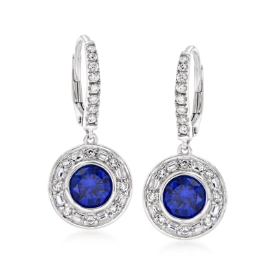 2.00 ct. t.w. Simulated Sapphire and .80 ct. t.w. CZ Drop Earrings in Sterling Silver