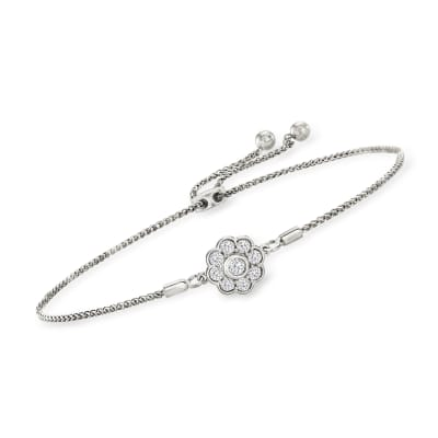 .50 ct. t.w. Diamond Flower Bolo Bracelet in Sterling Silver