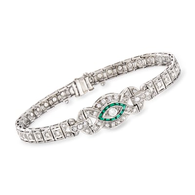 C. 1950 Vintage 2.00 ct. t.w. Diamond and .20 ct. t.w. Simulated Emerald Bracelet in Platinum