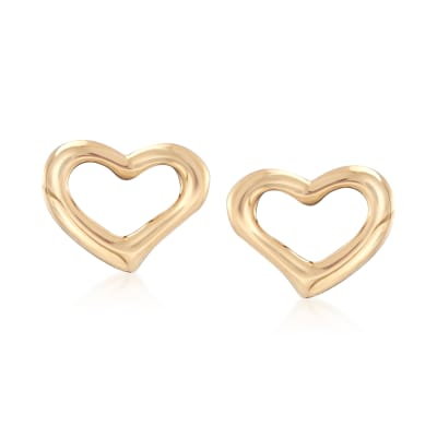 18kt Yellow Gold Open-Space Heart Stud Earrings