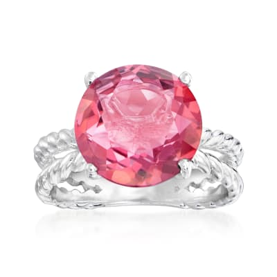 4.90 Carat Mystic Pink Quartz Ring in Sterling Silver