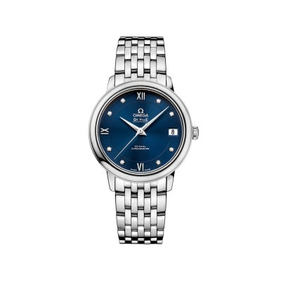 Omega De Ville Prestige Women's 32.7mm Stainless Steel Watch with Diamonds and Blue Dial