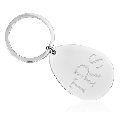 Sterling Silver Oval Engravable Key Chain