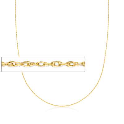 .7mm 14kt Yellow Gold Rope Chain Necklace