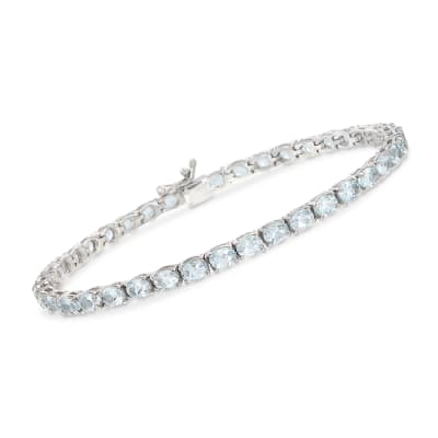 7.00 ct. t.w. Aquamarine Tennis Bracelet in Sterling Silver