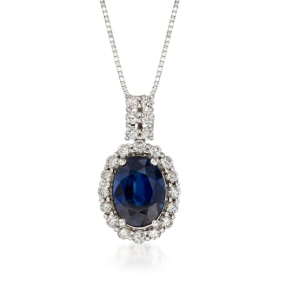 1.30 Carat Sapphire and .26 ct. t.w. Diamond Pendant Necklace in 14kt White Gold