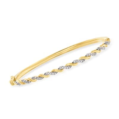 .33 ct. t.w. Diamond Bangle Bracelet in 18kt Yellow Gold Over Sterling