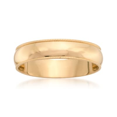 Men's 5mm 14kt Yellow Gold Milgrain Wedding Ring