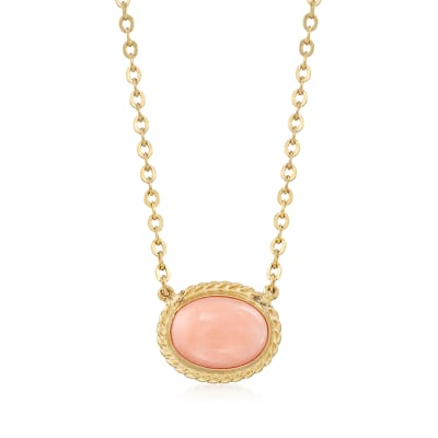 8x6mm Coral Necklace in 14kt Yellow Gold