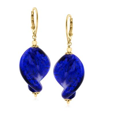 Italian Blue Murano Glass Bead Drop Earrings in 18kt Gold Over Sterling