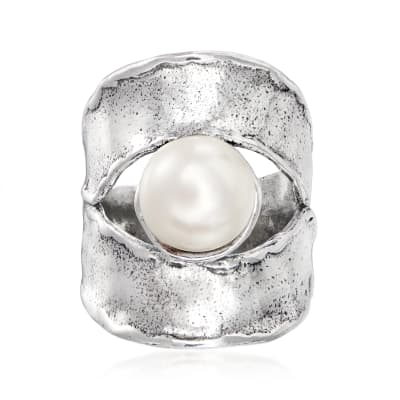 9.5-10mm Cultured Pearl and Textured Sterling Silver Ring