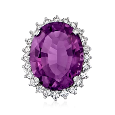 C. 1970 Vintage 19.50 Carat Amethyst Ring with 1.37 ct. t.w. Diamonds in 14kt White Gold