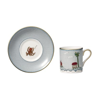 """Kit Kemp for Wedgwood """"Sailor's Farewell"""" Espresso Cup with Saucer"""