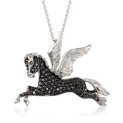1.90 ct. t.w. Black Spinel Pegasus Pendant Necklace in Sterling Silver