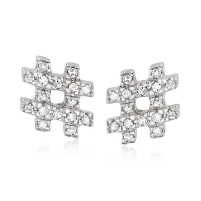 Sterling Silver Hashtag Earrings with Diamond Accents