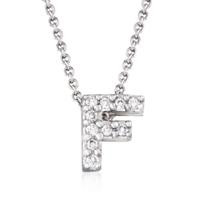 "Roberto Coin ""Love Letter"" Diamond Accent Initial ""F"" Necklace in 18kt White Gold"