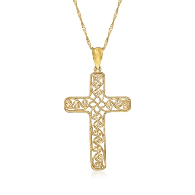 14kt Yellow Gold Filigree Cross Pendant Necklace
