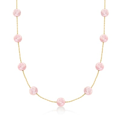 8-8.5mm Pink Cultured Pearl Station Necklace in 14kt Yellow Gold
