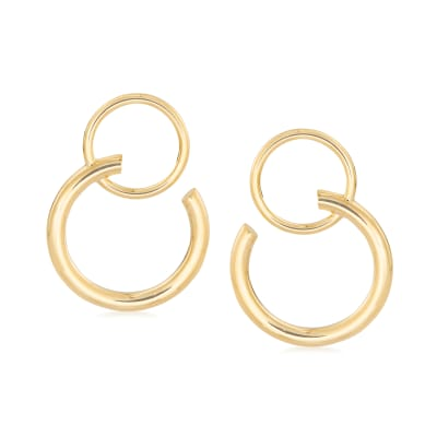 Italian 14kt Yellow Gold Double Open-Circle Drop Earrings