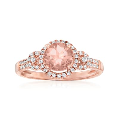 .90 Carat Morganite Ring with .25 ct. t.w. Diamonds in 14kt Rose Gold