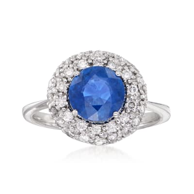 7.00 Carat Sapphire and .42 ct. t.w. Diamond Ring in 14kt White Gold