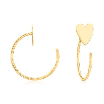 14kt Yellow Gold Heart Hoop Earrings