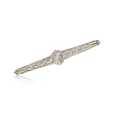 C. 1980 Vintage .50 ct. t.w. Diamond Bar Pin in Platinum