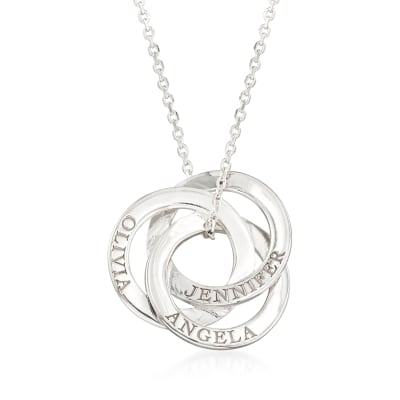 Sterling Silver Personalized Interlocking Circles Pendant Necklace