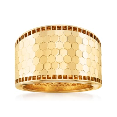 Italian 14kt Yellow Gold Honeycomb Pattern Ring