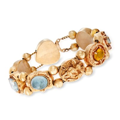 C. 1960 Vintage Multi-Gem Bracelet in 14kt Yellow Gold