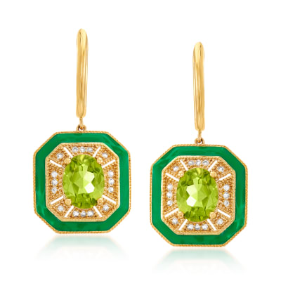 3.30 ct. t.w. Peridot and .20 ct. t.w. White Topaz Drop Earrings with Green Enamel in 18kt Gold Over Sterling