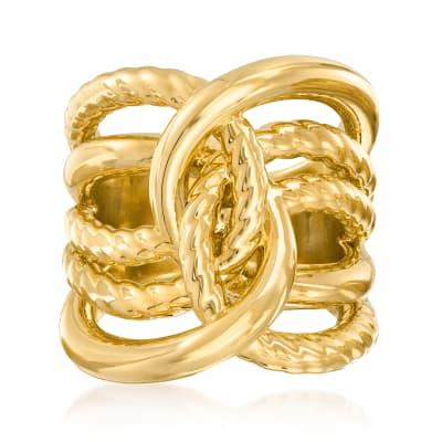 Italian Andiamo 14kt Yellow Gold Over Resin Interlocking Ring
