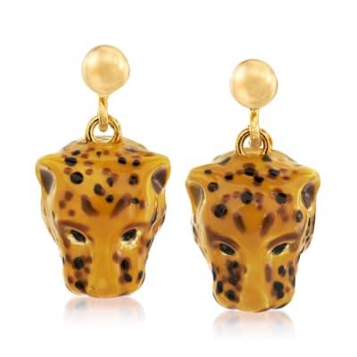Italian Enamel Cheetah Drop Earrings in 18kt Gold Over Sterling