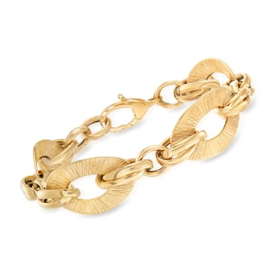 Italian Textured and Polished 18kt Yellow Gold Link Bracelet