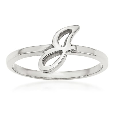 14kt White Gold Laser Polished Initial Script or Block Font Ring